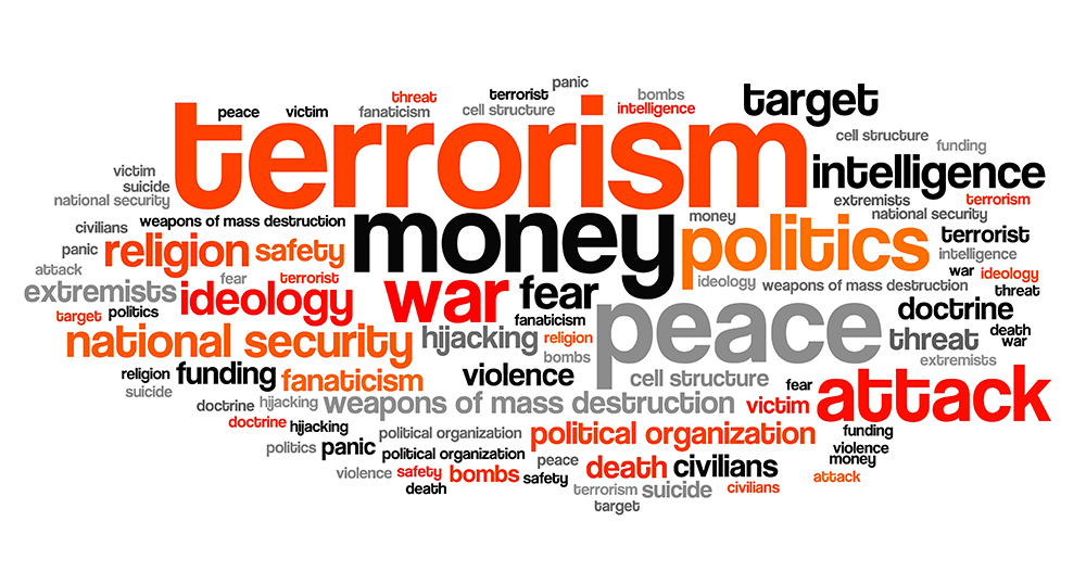 Terrorism issues and concepts word cloud illustration. Word collage concept.